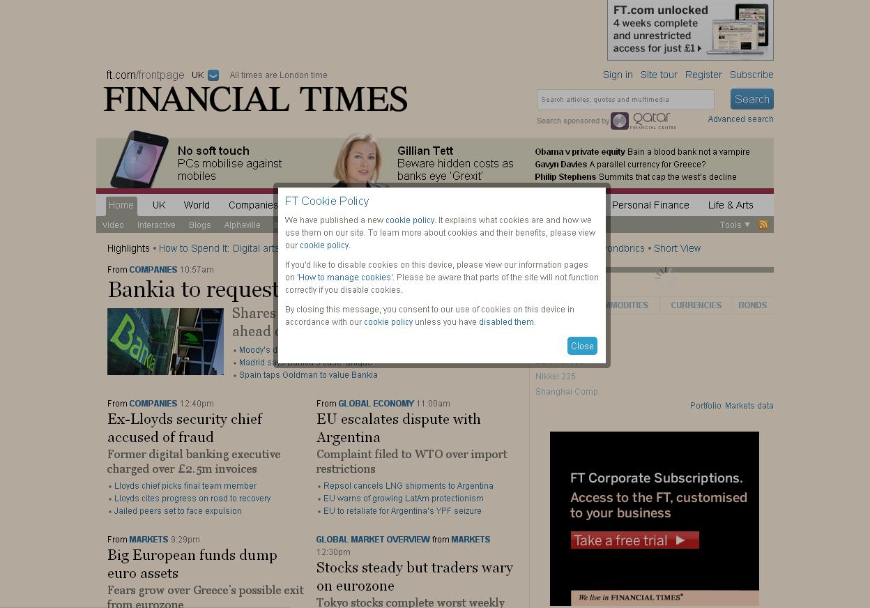 Financial Times screenshot - cookie law compliancy