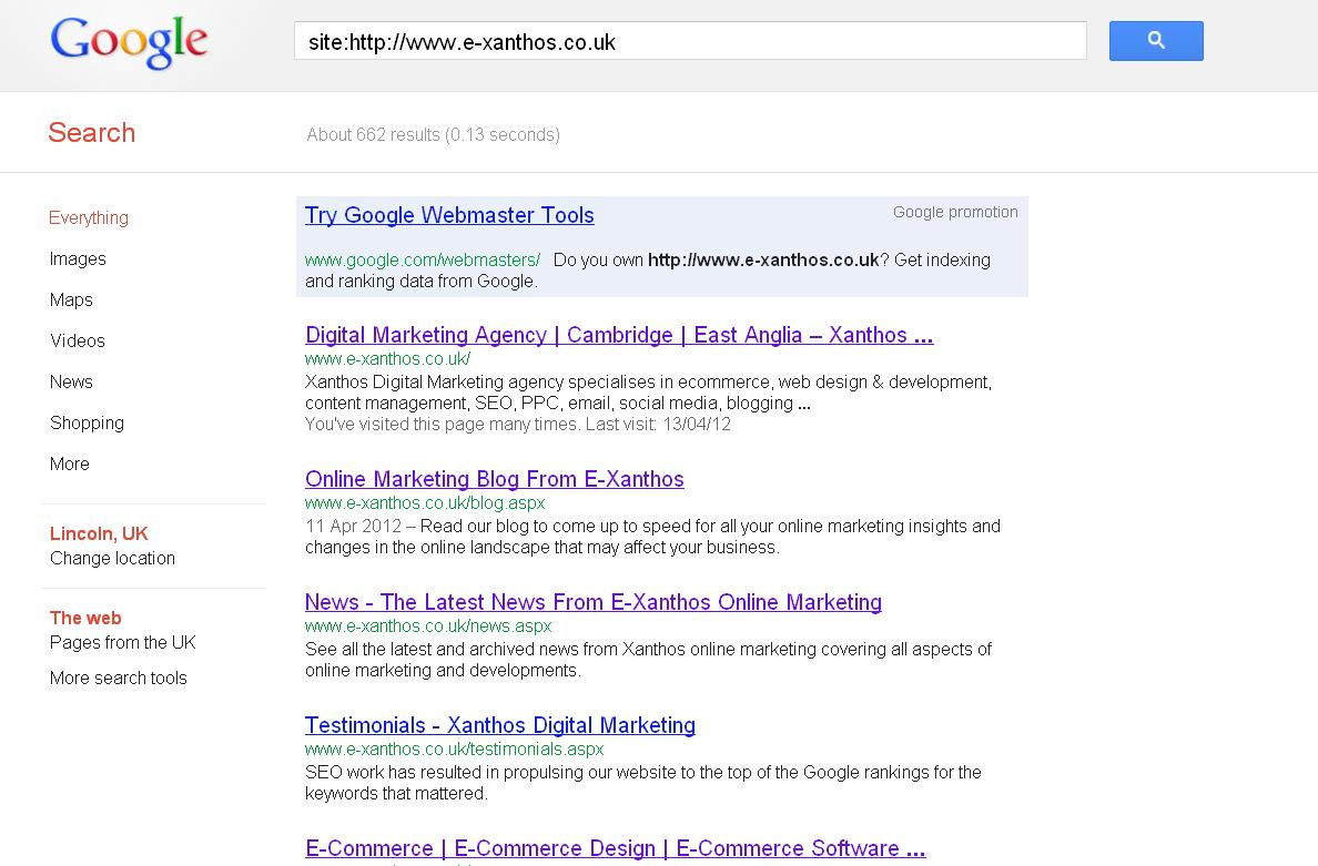 Google Site Index Screenshot - Xanthos Digital Marketing URL