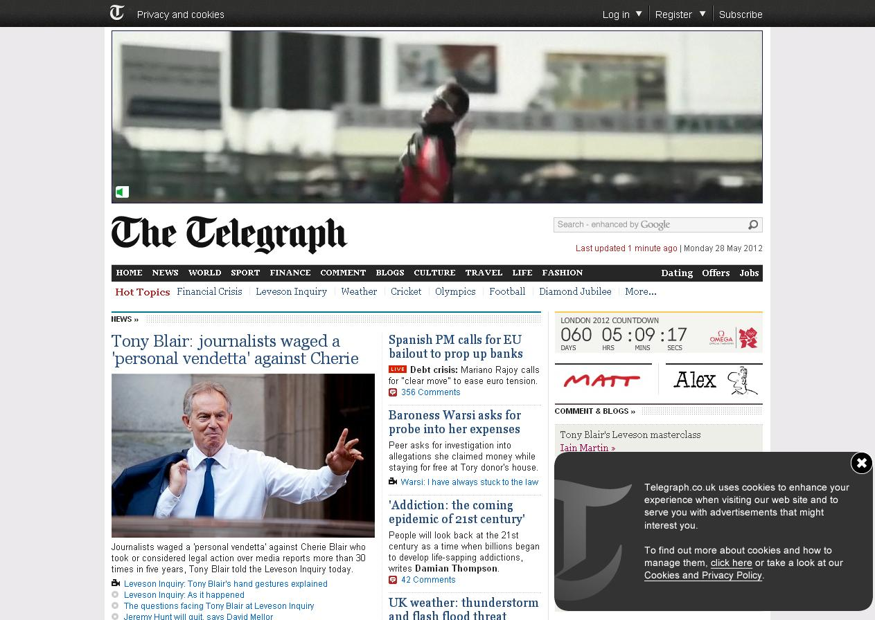 the telegraph screenshot - cookie law compliancy