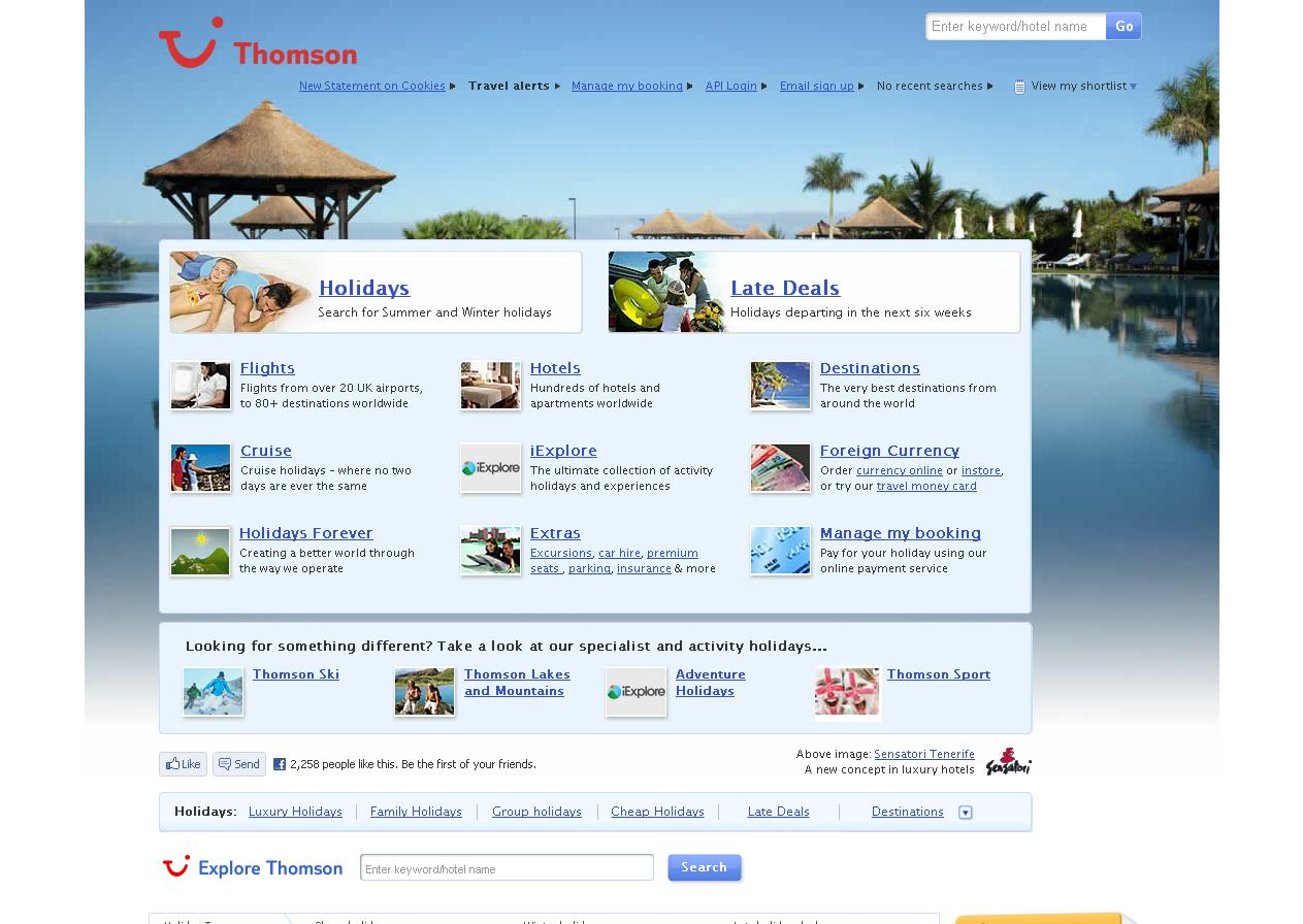 thomson holidays screenshot - cookie law compliancy