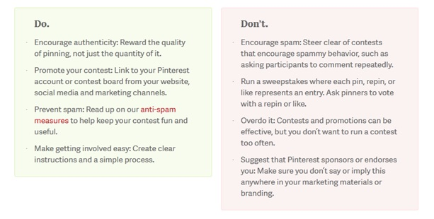 Pinterest Competition Guidelines