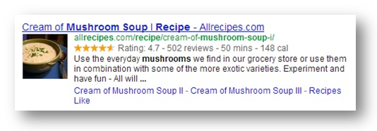 google search result with structured data