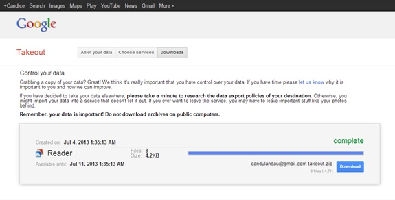 Google Takeout - download Google Reader Data