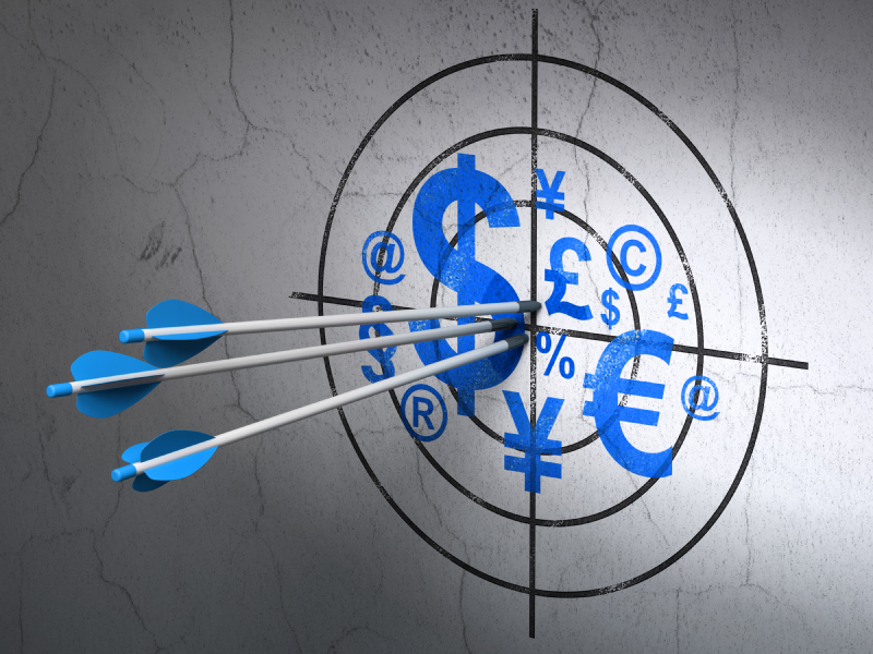 Marketing concept: arrows in Finance Symbol target on wall background