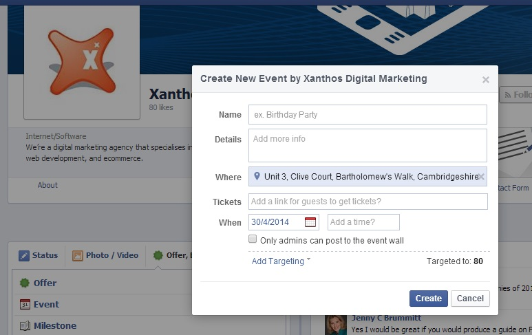 creating a facebook event