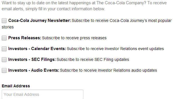 Coca Cola makes use of segmenting subscribers