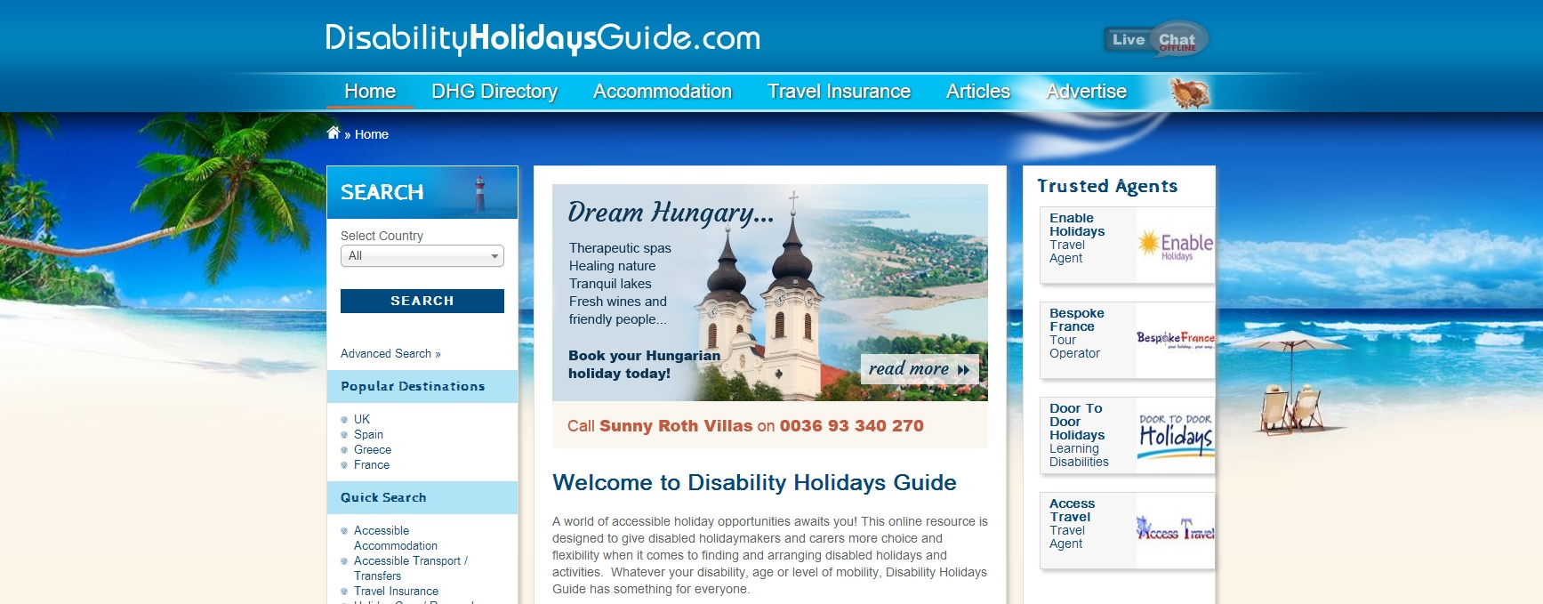 disability holidays guide web design