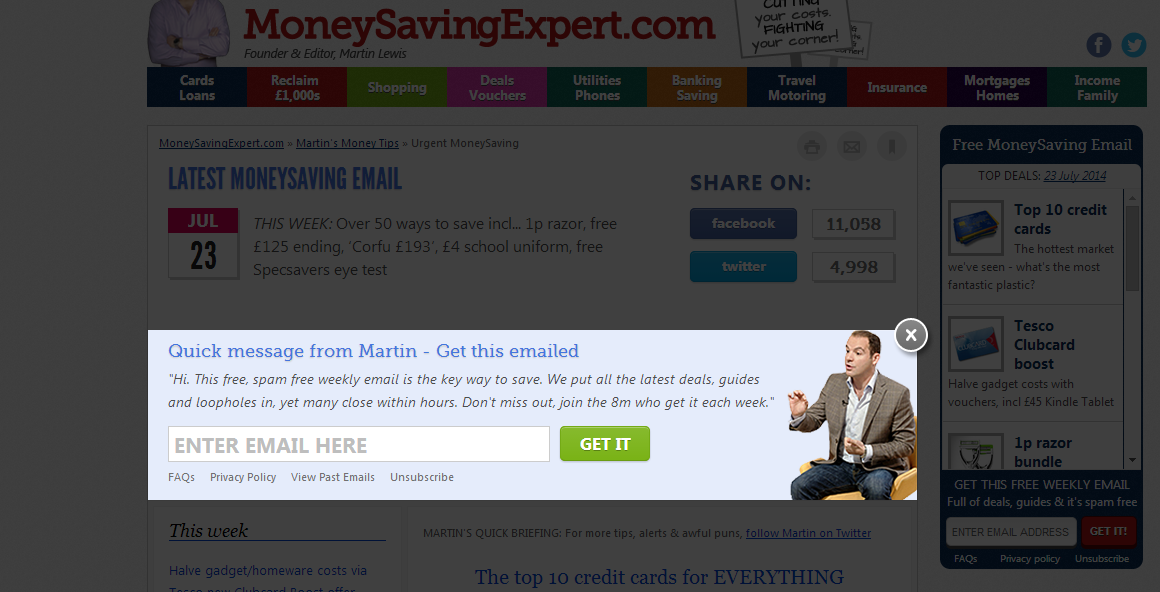 MoneySavingExpert utilising a one-step pop-up