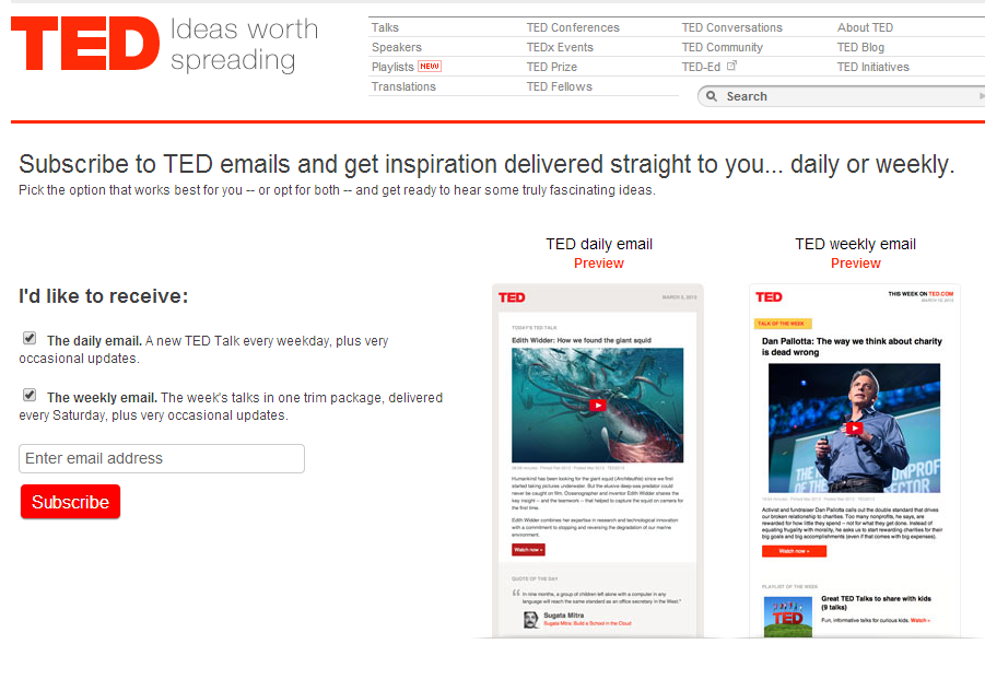 TED has a simplistic and clear newsletter page
