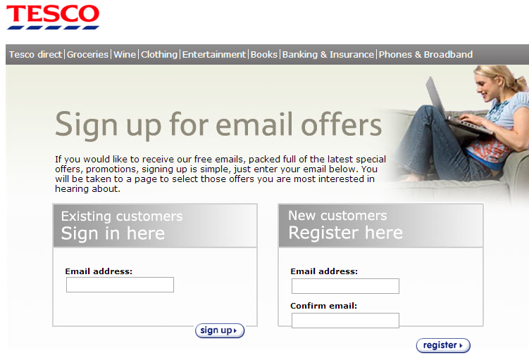 Tesco promises exclusive offers upon sign-up