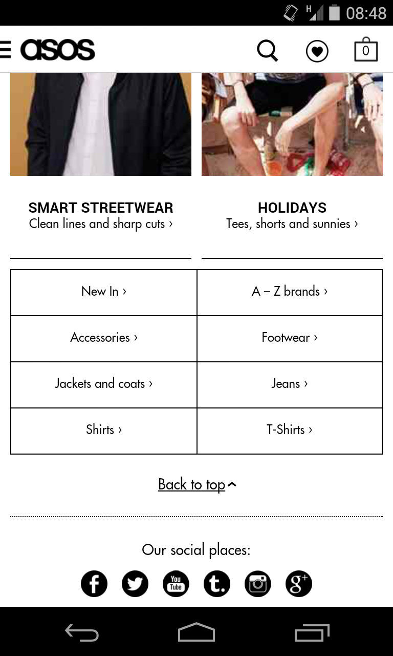 asos ecommerce mobile site