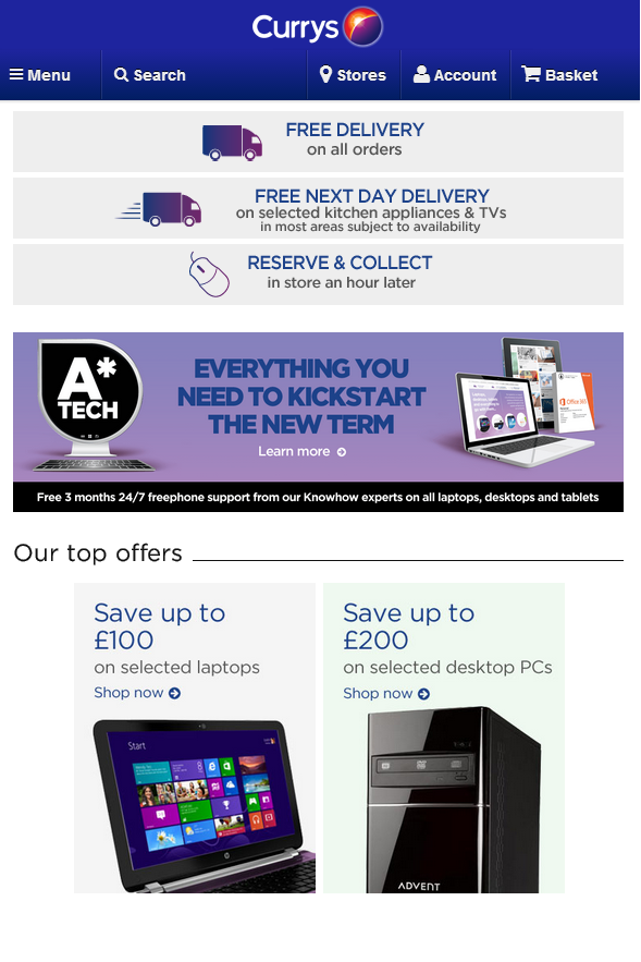 currys responsive web design ecommerce