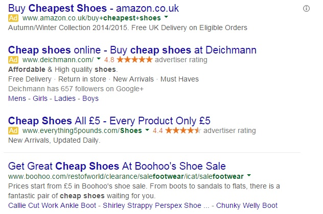 cheap shoes google adwords example