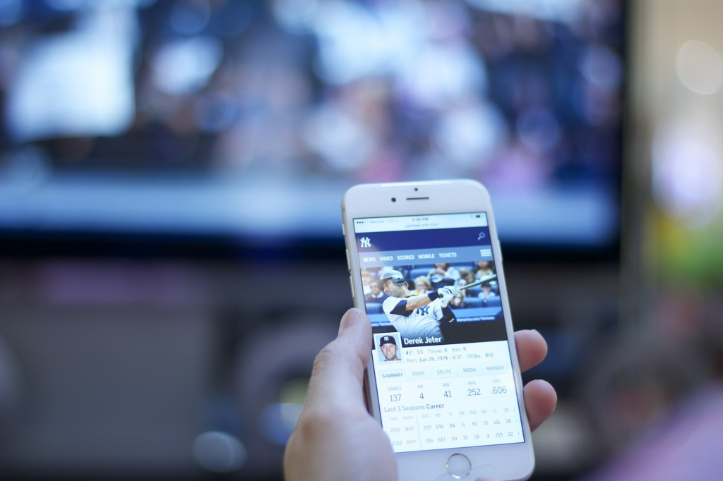 iPhone 6 being used as a second screen to TV