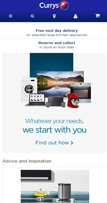Responsive Web Design from Currys