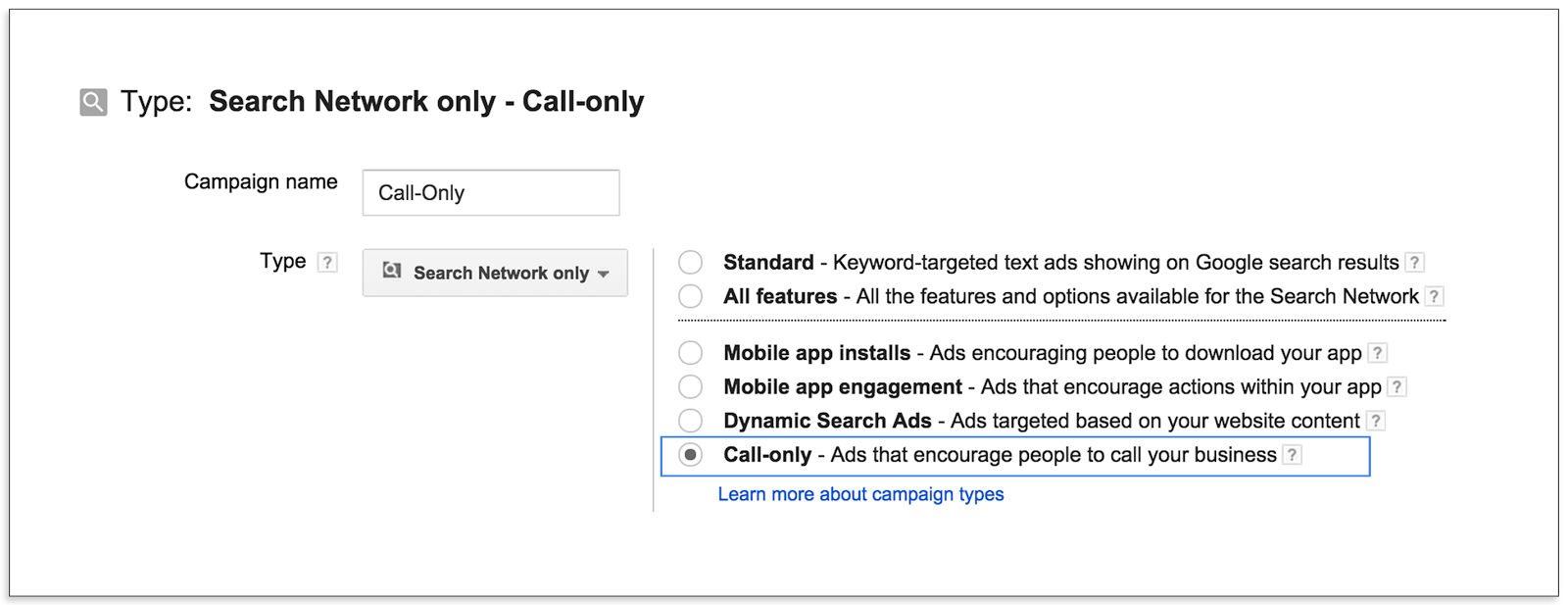Choosing Google AdWords Call Only Campaign