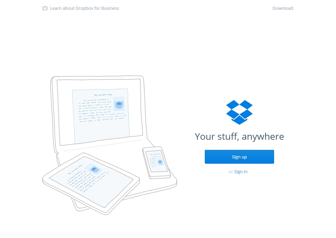 Landing Page Example - Dropbox