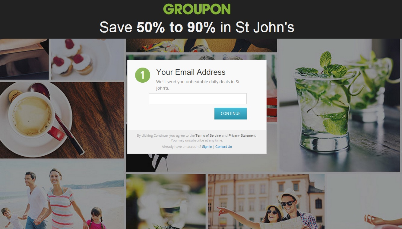 Landing Page Example - Groupon