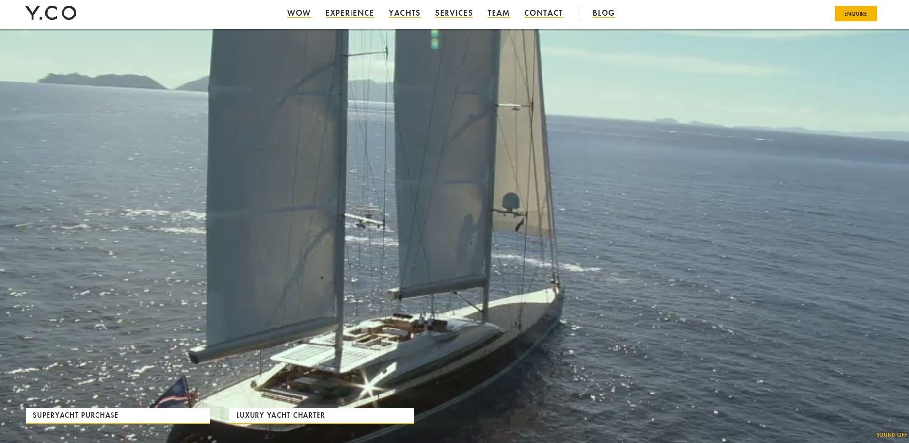 HTML 5 video web design Y.co yachts