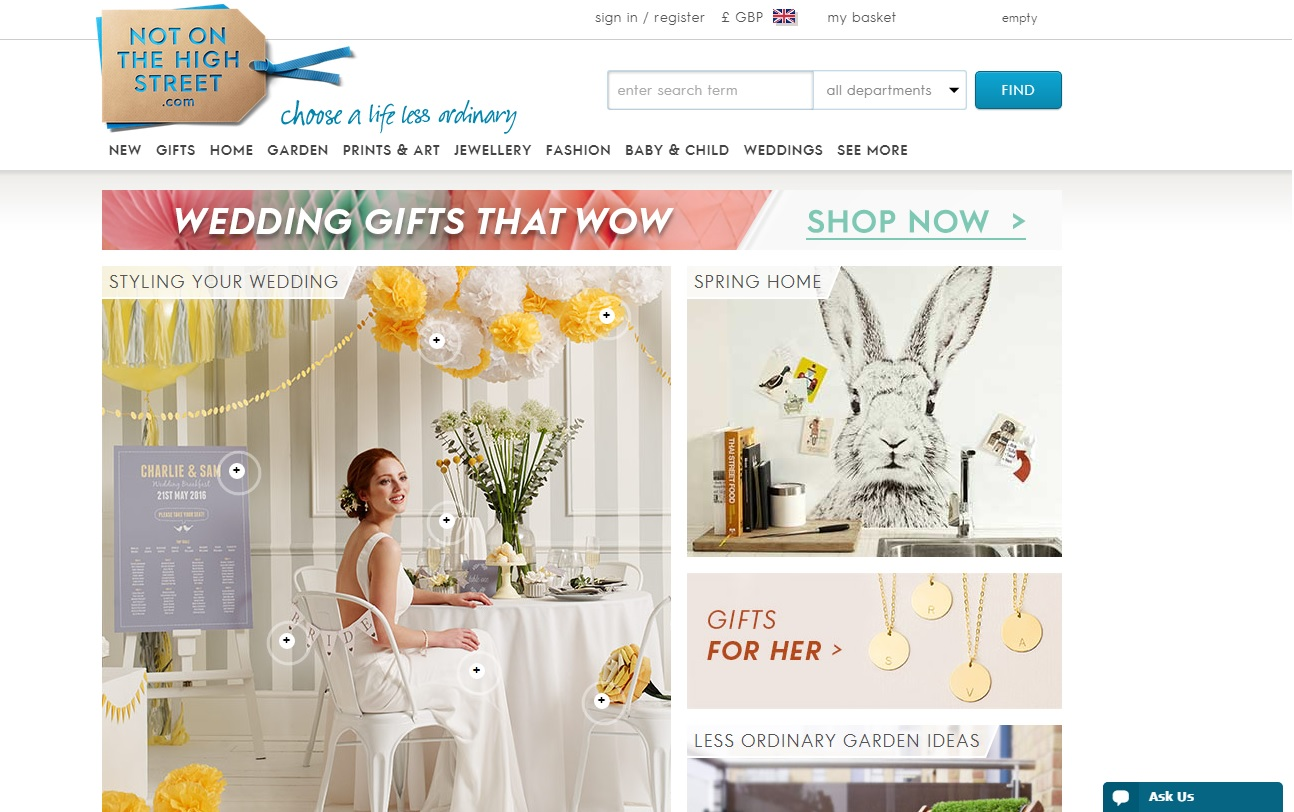 Not on the high street Ecommerce Web Design