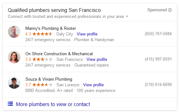 Google Sponsored Local Listings