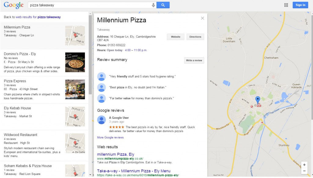 Google Local SEO Snack pack update 3-pack Ely