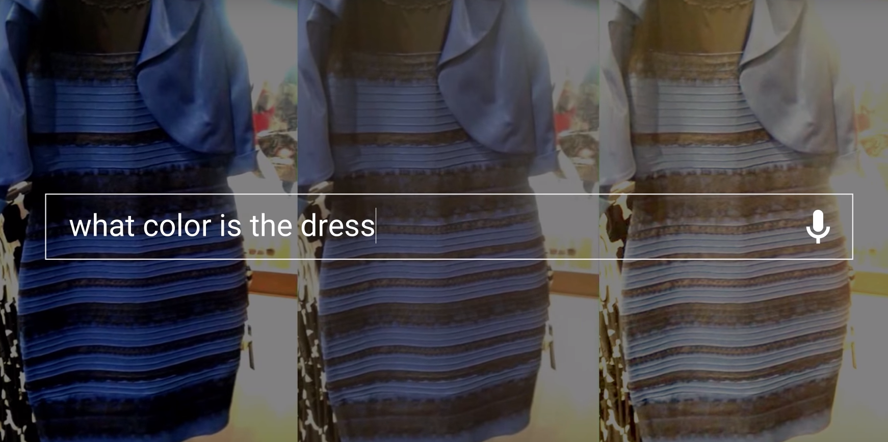 Blue and black dress searches