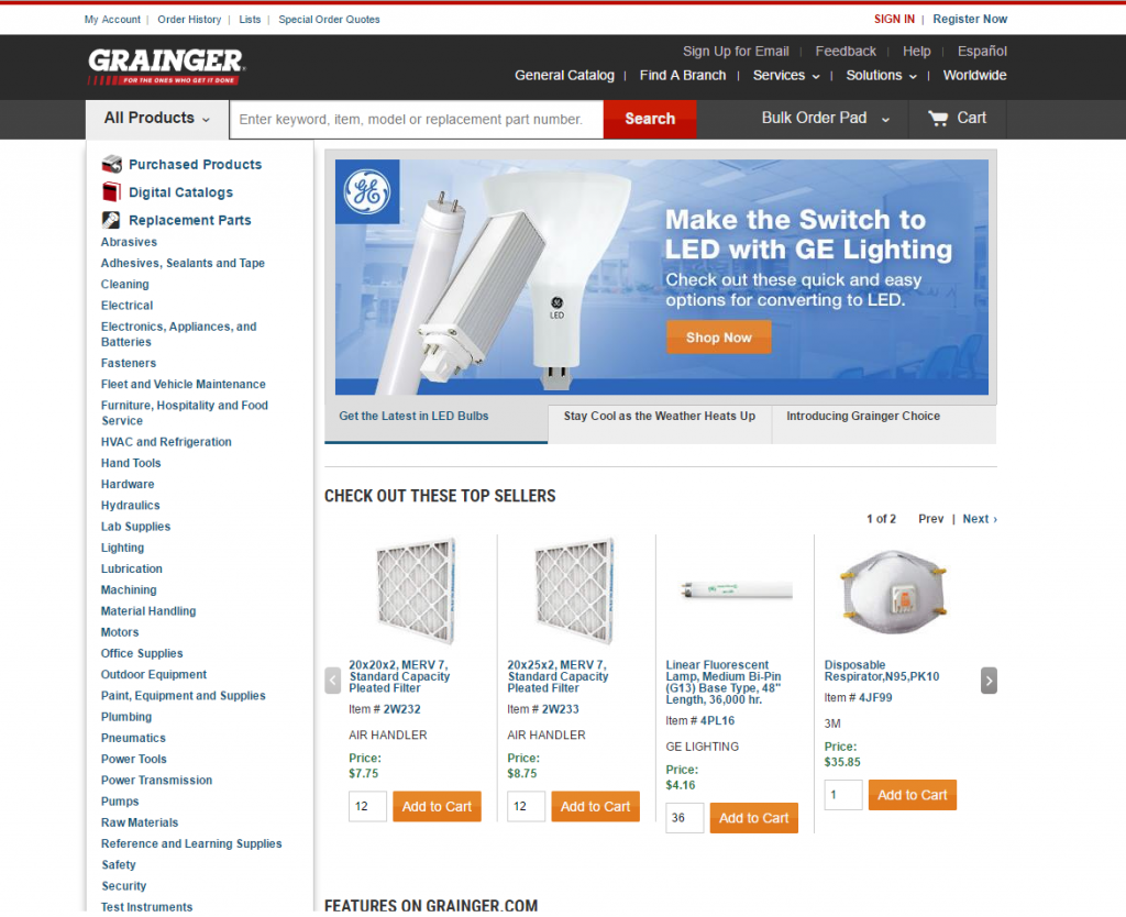 grainger b2b ecommerce web design example
