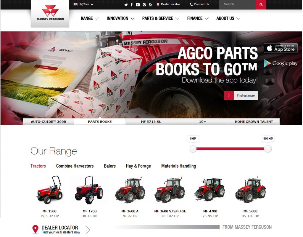 massey ferguson web design ecommerce b2b