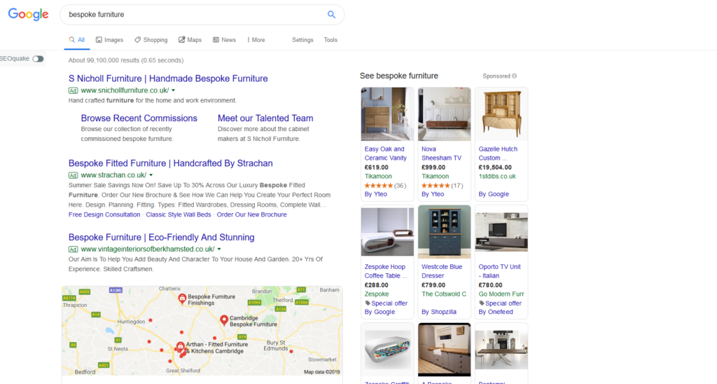 Google Ads of Bespoke Furniture Suppliers